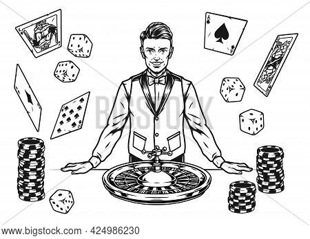 Gambling Vintage Monochrome Elements Concept With Smiling Croupier In Shirt Bow Tie And Waistcoat Ca