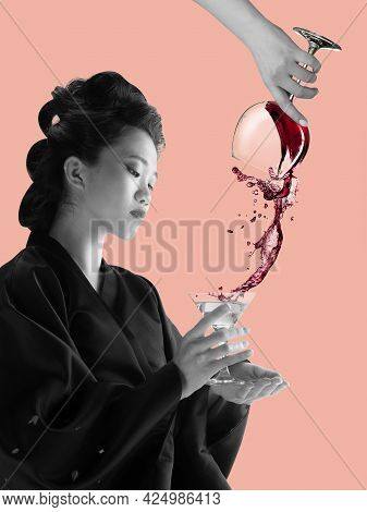 Portrait Of Young Beautiful Japanese, Woman In National Attire Kimono Posing Isolated Over Pink Stud