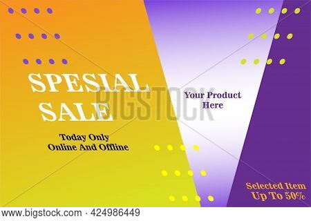 Banner Sale Design And Special Offers In Orange And Purple Gradations With Italics, Vector Illustrat