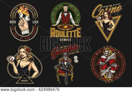 Gambling Vintage Colorful Badges With Pretty Poker Ladies Skeleton Gambler In Tuxedo Male Hand Holdi