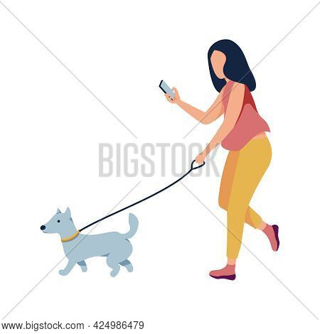 Woman With Smartphone Walking Her Dog On Leash Flat Vector Illustration