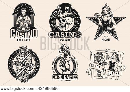 Gambling Vintage Prints With Casino Croupier Shuffles Cards Gambler Skull Smoking Cigar Hand With Bu