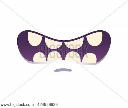 Cartoon Monster Mouth With Scared Expression On White Background Vector Illustration