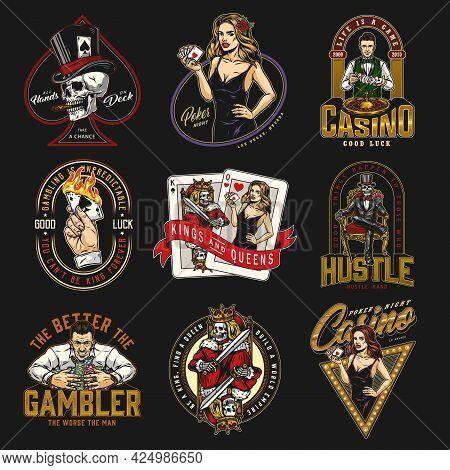 Casino Vintage Prints With Skull Smoking Cigar Skeleton Gambler In Tuxedo Croupier Hand Holding Burn