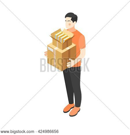 Isometric Renovation Icon With Man Holding Carboard Boxes With Old Books 3d Vector Illustration
