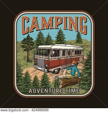 Camping Colorful Vintage Badge With Traveler In Panama Hat Sitting On Wooden Log Motorhome And Trees