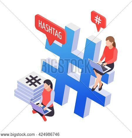 Social Media Hashtag Isometric Icon With Two Characters And Laptops Vector Illustration