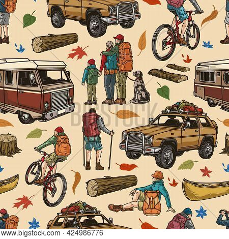 Camping Colorful Vintage Seamless Pattern With Motorhome Travel Car Wooden Logs Leaves Canoe Campers