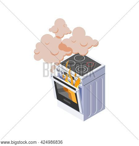 Isometric Broken Cooker With Burning Stove 3d Vector Illustration