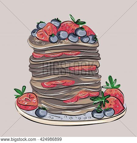 Pancakes, Chocolate Pancakes With Blueberries And Strawberries. Vegan Breakfast. Delicious Dessert.