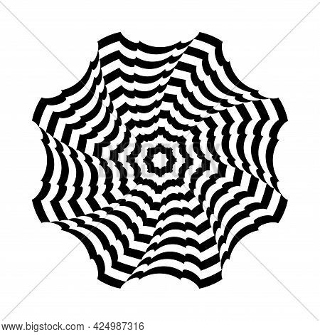 Op Art Design Element. Rotation Twisting Movement. Abstract Striped Lines Circle Pattern. Vector Ill