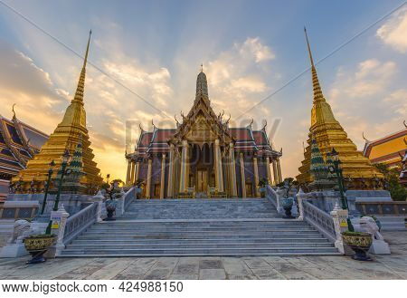 Wat Phra Kaew In Twilight, Temple Of The Emerald Buddha Wat Phra Kaew Is One Of Bangkok's Most Famou