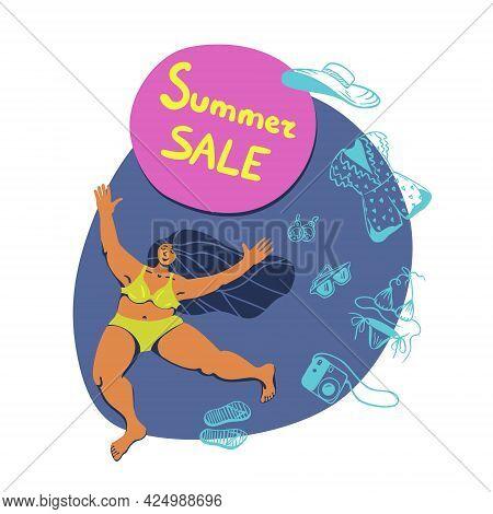 Vector Summertime Handdrawn Summer Sale Banner. Hand Drawn Bright Curvy Happy Girl With A Season Dis