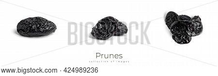 Prunes Isolated On A White Background. Plums.