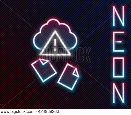 Glowing Neon Line Cloud Hacking Icon Isolated On Black Background. Cloud Leak. Colorful Outline Conc
