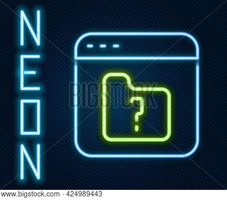 Glowing Neon Line File Missing Icon Isolated On Black Background. Colorful Outline Concept. Vector
