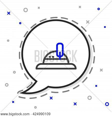 Line Hunter Hat Icon Isolated On White Background. Plaid Winter Hat. Colorful Outline Concept. Vecto