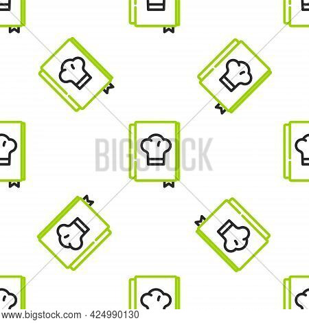 Line Cookbook Icon Isolated Seamless Pattern On White Background. Cooking Book Icon. Recipe Book. Fo