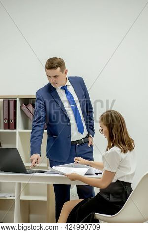 Corporate Strategy. Legal Adviser. Financial Department. Office Secretary. Business Couple Working.