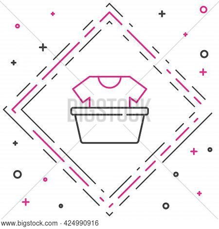 Line Plastic Basin With Shirt Icon Isolated On White Background. Bowl With Water. Washing Clothes, C