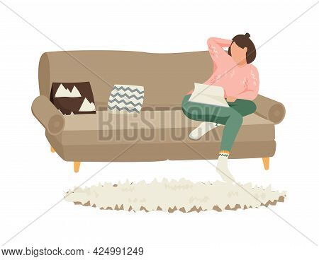 Flat Hygge Lifestyle Icon With Character Reading Book On Sofa In Cozy Living Room Vector Illustratio