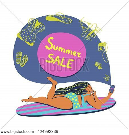 Vector Summertime Handdrawn Summer Sale Banner. Hand Drawn Curvy Girl On A Surfboard With A Season D