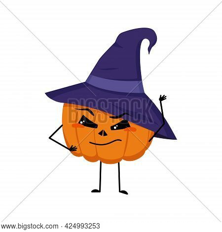 Cute Pumpkin Character In Pointed Hat With Emotions, Face, Arms And Legs. The Funny Or Proud, Domine