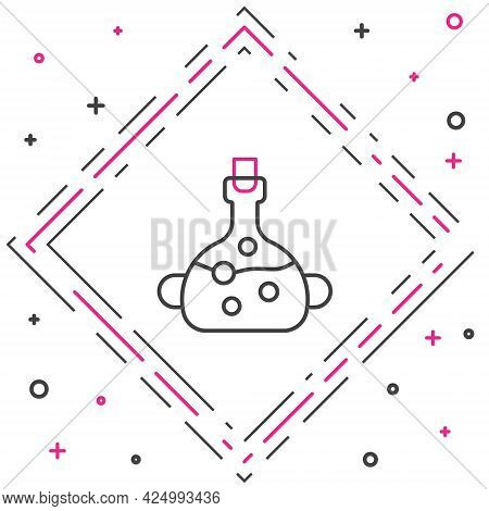 Line Poison In Bottle Icon Isolated On White Background. Bottle Of Poison Or Poisonous Chemical Toxi