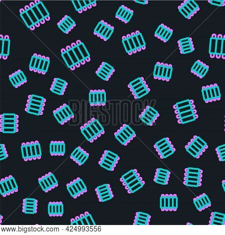 Line Grilled Pork Bbq Ribs Icon Isolated Seamless Pattern On Black Background. Vector