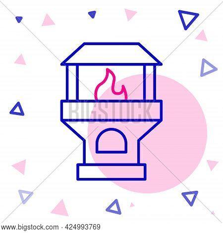 Line Brick Stove Icon Isolated On White Background. Brick Fireplace, Masonry Stove, Stone Oven Icon.