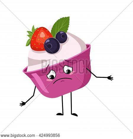 Cute Cake Or Yogurt Character With Sad Emotions, Downcast Eyes, Depressing Face, Arms And Legs. The