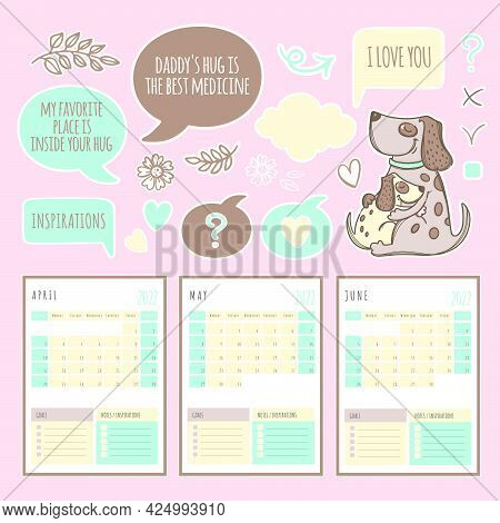 Planner Spring Dog 2022 Year Template Schedule And Collection With Design Elements And Pets For Prin