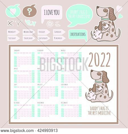 Planner Calendar 2022 Template Schedule And Collection With Design Elements And Dogs For Printable A