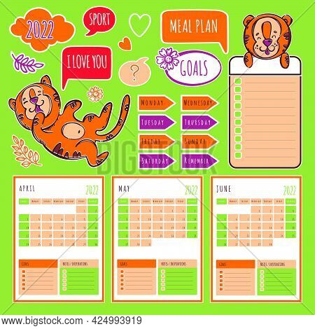 Planner Spring Tiger 2022 Template Schedule And Collection With Design Elements And Tigers For Print