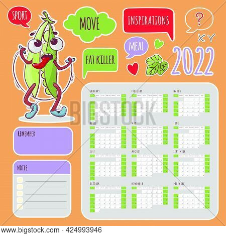 Sport Stickers Calendar 2022 Year Jumping Peas Schedule And Collection Labels From Design Elements F