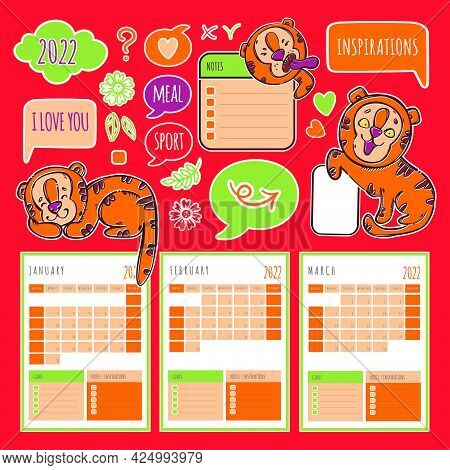 Tiger Planner Winter 2022 Year Template Schedule And Collection With Design Elements And Cats For Pr