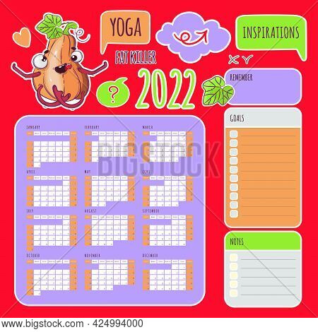 Yoga Stickers Calendar 2022 Year Sporting Pumpkin Schedule And Collection Labels From Design Element