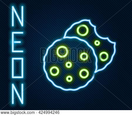 Glowing Neon Line Cookie Or Biscuit With Chocolate Icon Isolated On Black Background. Colorful Outli