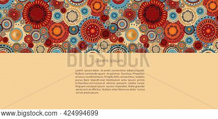 African Or Oriental Ornament,  Desert And Pattern. Abstract Posters In Minimalistic Style. Vector Te