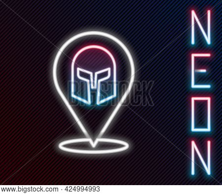 Glowing Neon Line Greek Helmet Icon Isolated On Black Background. Antiques Helmet For Head Protectio