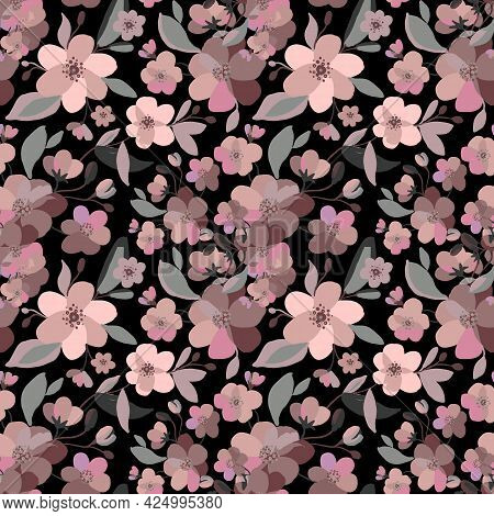 Watercolor Sakura And Thorns Pattern. Seamless Natural Texture With Blossom Cherry Tree Branches. Ha