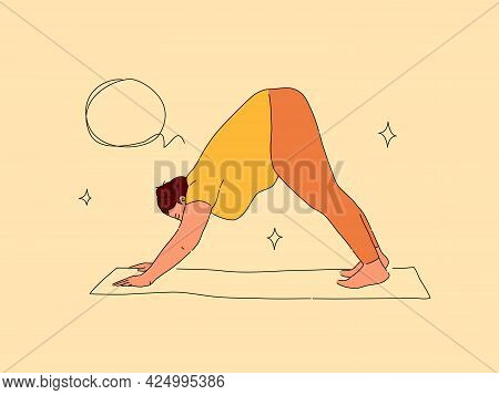 Plus Size Woman Doing Downward Dog Pose On Yoga Mat. Modern Flat And Line Illustration Of Obese Lady