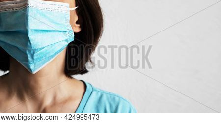 Female Caucasian Model In Protective Mask With Copy-space. Social Distancing Concept