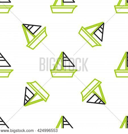 Line Yacht Sailboat Or Sailing Ship Icon Isolated Seamless Pattern On White Background. Sail Boat Ma