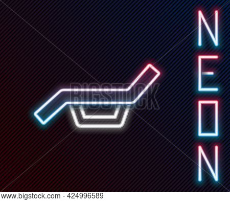 Glowing Neon Line Sunbed Icon Isolated On Black Background. Sun Lounger. Colorful Outline Concept. V