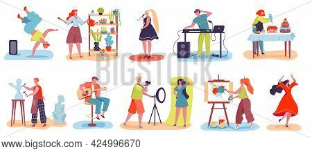 People Hobby. Men And Women Baking, Singing, Dancing, Gardening, Sculpting. Characters With Various