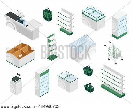 Isometric Store Furniture. Counter, Checkout, Shelves, Showcase Displays, Baskets, Carts. Supermarke