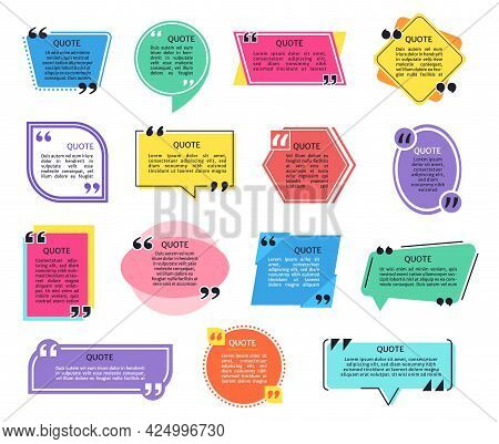Quote Frames. Quotes Box Frame With Quotation Marks, Headline And Text. Geometric Shape Dialogue Spe