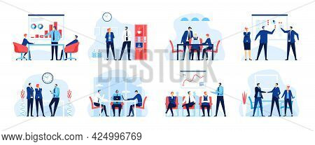 Office Business Meeting. Business Team Working In Office. Conference, Presentation, Corporate Traini