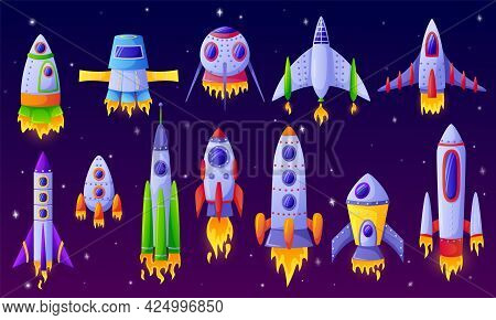 Cartoon Spaceships. Futuristic Rockets, Spacecraft With Space Background. Colorful Space Aircraft, S